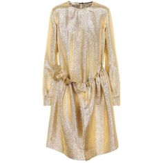 Stella McCartney Gali Metallic Dress ($1,855) ❤ liked on Polyvore featuring dresses, gold, stella mccartney dress, gold metallic dresses, stella mccartney, metallic dress and brown dresses