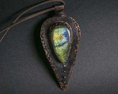 Silver statement necklace: Labradorite Pendant  Unique
