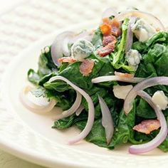 Sauteed Spinach with Red Onion, Bacon
