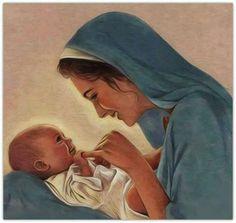 Hermosa imagen de nuestra Madre Maria con Jesus.