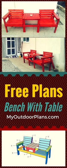 Double chair bench with table plans - Easy to follow tutorial for you to learn how to build a double chair with table! Free plans at www.myoutdoorplans.com #bench #outdoorfurniture