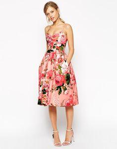 Pink | ASOS SALON Pinky Rose Bandeau Midi Prom Dress at ASOS