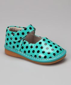 Loving this Teal & Black Polka Dots Squeaker Mary Jane on #zulily! #zulilyfinds
