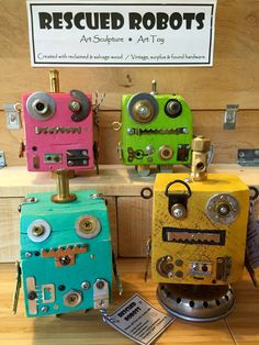Wooden Robot Toy Robot Wood Sculpture Art Toy Green by YFdesigns13