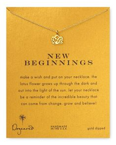 """Dogeared Lotus Necklace: """"A reminder of the incredible beauty that can come from change"""""""