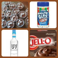 FROZEN HOT CHOCOLATE PUDDING SHOTS 1 small pkg. Chocolate instant pudding  ¾ Cup Milk 3/4 Cup whipped cream vodka if desired add mini marshmallows or Jet puffed marshmallow bits or use as garnish.  8oz tub Cool Whip  Directions 1. Whisk together the milk and instant pudding in a bowl until combined. 2 Add vodka and whisk. 3. Add cool whip a little at a time with whisk. 3 stir in marshmallows. 4. Spoon into disposable cups and freeze for at least 2 hours