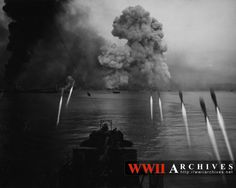 the landing at Tarakan on Borneo:vehicle fire support type LCI ® firing Nurs Borneo, World War Ii, Ww2, Australia, Fire, Aussies, Pictures, Photos, Soldiers