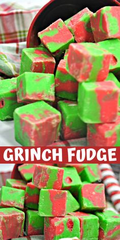 Grinch fudge is so jolly that it is sure to make even the smallest heart grow three sizes in one day. With spicy cinnamon Red Hots and peppermint flavor and the sweetness of classic fudge, this Grinch fudge makes the most of all the holiday flavors. Grinch Christmas Party, Christmas Fudge, Christmas Deserts, Christmas Cooking, Christmas Goodies, Holiday Desserts, Christmas Candy, Holiday Baking, Holiday Treats