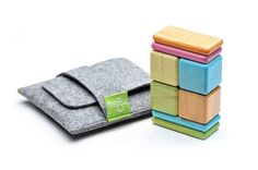 Tegu blocks with pocket pouch are the perfect little travel toy or plaything for restaurant tables since the magnets keep them attached together.