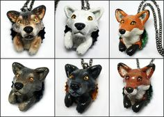 Wolf and Fox Bottle Cap Necklaces by LeiliaClay.deviantart.com on @DeviantArt