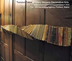 Twisted Tales book art installation © WARY MEYERS DECORATIVE ARTS. For: VIA Advertising Agency, Portland, Maine ... Copyright law requires that you credit the artist. Link directly to artist's website. COPYRIGHT LAW: http://pinterest.com/pin/86975836525792650/  REAL LIFE:  http://www.pinterest.com/pin/86975836527280978/ HOW TO FIND the ORIGINAL WEB SITE of an image: http://pinterest.com/pin/86975836525507659/