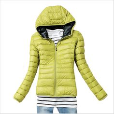 2016 Autumn And Winter Coat Down  Jacket Long Sleeve Thin Solid Zipper Casual Top Green Blue Red Black Cotton-Padded Zipper
