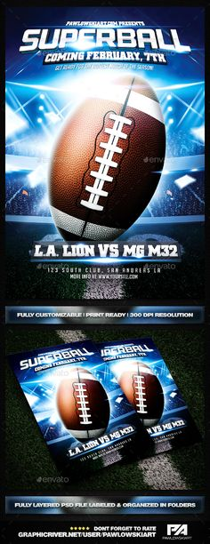 American Football Super Ball Flyer vol8 American football, Font - free sports flyer templates