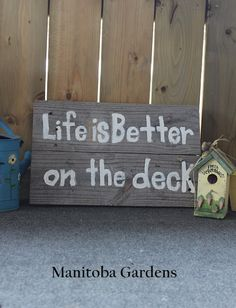 Pallet board sign, Life is Better on the Deck