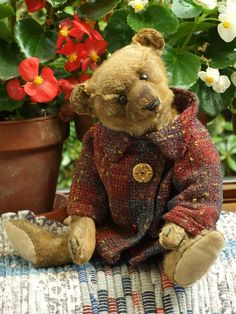 Antique Vintage Steiff Mohair Teddy Bear c.1910 with Button in Ear