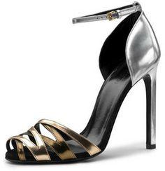 Gucci Fleur Specchio Ankle-Wrap Sandal, Silver/Bronze on shopstyle.com