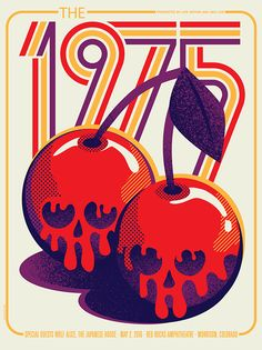I love the illustration style of this poster because it combines interesting pattern elements to make the poster more visually interesting and also to give a sense of depth and shadowing of the cherries. The colors are a fun variety that feel both retro and new at the same time.