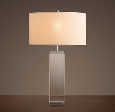 RH's Square Column Crystal Table Lamp:Simply sculptural, our Square Column Lamp provides understated illumination, and is perfect for layering with other fixtures.
