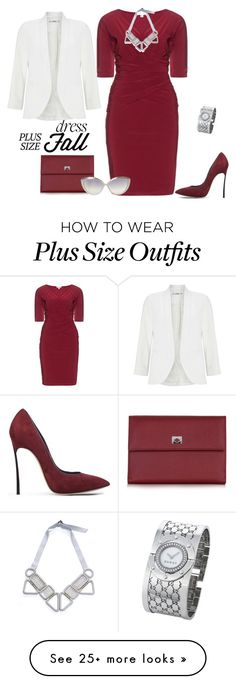 """""""outfit 4842"""" by natalyag on Polyvore featuring Kiyonna, Pineider, Casadei, Gucci, Linda Farrow and Miss Selfridge"""