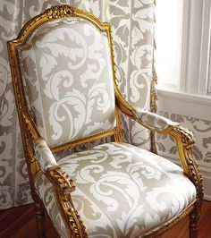 Thibaut Wallpaper Residence Collection - Frotolla in Metallic on White. Fabric - Frotolla Silk in White Furniture Upholstery, Fine Furniture, Living Room Sofa, Dining Room Chairs, Interior Decorating, Interior Design, Decorating Ideas, Pretty Room, Contemporary Chairs