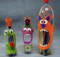 botella porta lápices