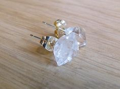 TIFFANY / Raw Herkimer DIAMOND Gemstone Crystal Stud Earrings Sterling Silver - Natural Glam Boho - April Birthstone. $28.00, via Etsy.