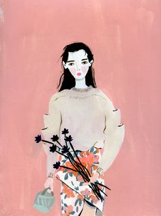 Girl With Black Flowers by KT Smail on Artfully Walls