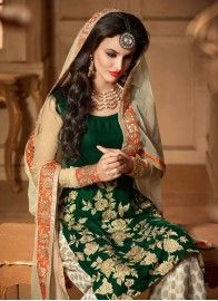 Reception Green and Off White Designer Palazzo Salwar Kameez