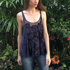 Free People Navy Velvet Tank Velvet and sheer tank top from Free People, lightly worn only a few times Free People Tops Tank Tops