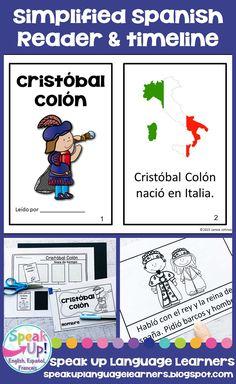 Cristóbal Colón Spanish Reader & timeline for Columbus Day {en español} Elementary Spanish, Spanish Class, Learning Spanish, French Class, Holiday Activities For Kids, Autumn Activities, Classroom Activities, Spanish Help, How To Speak Spanish