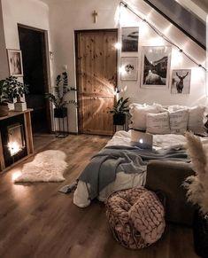 Cute Bedroom Decor, Room Design Bedroom, Room Ideas Bedroom, Home Bedroom, Master Bedroom, Bedroom Inspo, Gray Bedroom, Bedroom Wall, Cozy Teen Bedroom