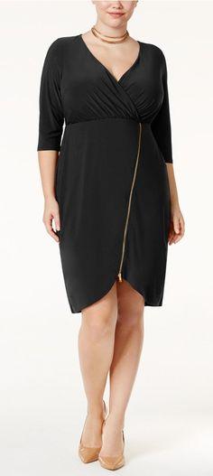 Plus Size Zipper-Detail Dress