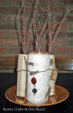 rustic-centerpiece using birch logs and twigs