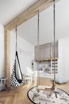 World Tour Carpet And Hanging Swing for Kids Rooms The post Incredibly Creative Playroom Furniture and Décor Ideas appeared first on Woman Casual - Kids and parenting Hanging Furniture, Playroom Furniture, Playroom Ideas, Bedroom Furniture, Indoor Swing, Kids Swing, Kids Room Design, Playroom Design, Bed Design