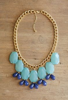Turquoise Blue and Navy Statement Necklace on by ShopNestled
