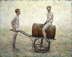 Painting by Daniel Barkley/    instead of using shopping trolleys, it could be better to use a construction like this which could be converted in to the oven, transport equipment/horse/duck etc. also it could be a container for water, ash or earth...