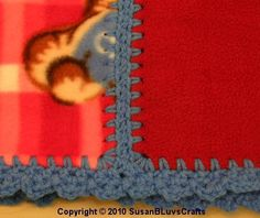 2 pieces of fleece joined with crochet- could also use with flannel to make a cute patchwork blanket