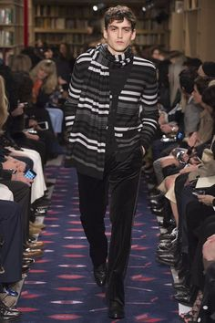 Sonia Rykiel - Striped cardigan & scarf with masculine velvet pants. #mensapparel #mensfashion #menswear #fw15 #pfw