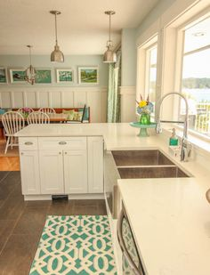 Gorgeous Coastal style white shaker kitchen with aqua blue at thehappyhousie.com-41