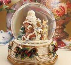 Christmas Santa Claus Crystal Water Ball Music Box