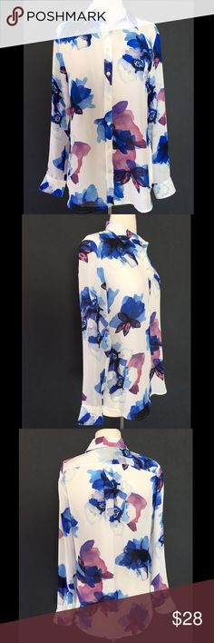 NEW BANANA REPUBLIC WATERCOLOR FLORAL BLOUSE TOP Very pretty and classy! 100% Polyester  New with tag. Blue and purple floral watercolor print. Banana Republic Tops Blouses