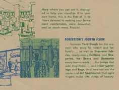 A circa pamphlet featuring the new layout of Robertson's Department Store in South Bend, Indiana South Bend Indiana, Back Home, Flooring, Department Store, Vintage, Wood Flooring, Vintage Comics, Floor
