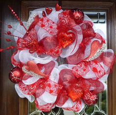 WHITE and RED VALENTINE Wreath