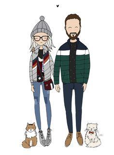 Couple portrait illustration by Blanka Biernat