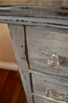 Refinished Dresser. Love the distressed look with the glass/crystal knobs!