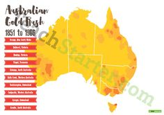 Location of Australian Goldfields Poster and Mapping Task Teaching Resource