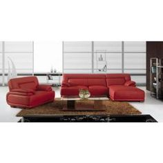 BO3929A Modern red leather sectional sofa