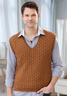 Men's Basketweave Vest (S-XXL) - pattern by Jodi Lewanda