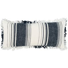 In a weighty linen/jute blend and featuring preppy stripes of indigo and white, this woven and fringed decorative pillow is the perfect, cozy addition to the living room, beach house, or cabin!   • 60% linen/40% jute.  • Laundered for softness.  • Fringe on all sides.  • Zipper closure.