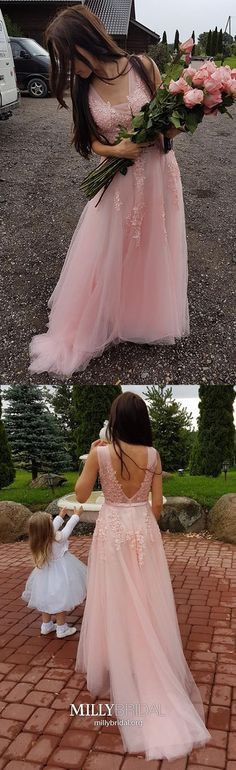 Unique Prom Dresses, elegant pink formal party dresses with appliques, chic plunging prom evening, There are long prom gowns and knee-length 2020 prom dresses in this collection that create an elegant and glamorous look Homecoming Dresses Long, Open Back Prom Dresses, Simple Prom Dress, Formal Dresses For Teens, Unique Prom Dresses, Long Prom Gowns, Pink Prom Dresses, A Line Prom Dresses, Tulle Prom Dress